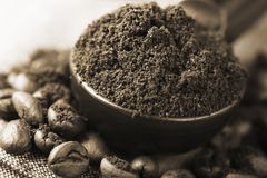 Freshly ground coffee Stock Images