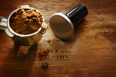 Freshly ground coffee in a metal filter Stock Images