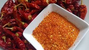 Freshly Ground and Whole Red Hot Peppers Stock Images