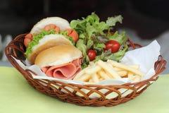 Freshly Hamburger in a basket Stock Photo