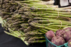 Freshly harvested asparagus spears Stock Photos