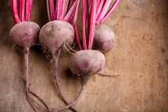 Freshly harvested beetroots with leaves stock photo