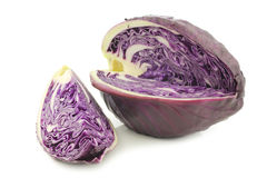 Freshly harvested cut red pointed cabbage Royalty Free Stock Photo