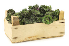 Freshly harvested kale sprouts in a wooden crate Royalty Free Stock Images