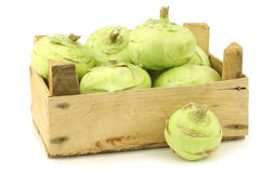 Freshly harvested kohlrabi in a wooden crate Stock Images