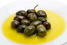Freshly Harvested Olives & Oil  Stock Photography