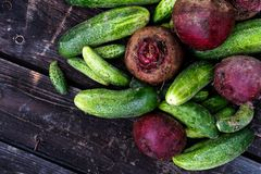 Freshly harvested pickling cucumbers and beetroots on dark rusti Stock Images
