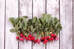 Freshly harvested, purple colorful radish on wooden background. Top view.  Royalty Free Stock Image