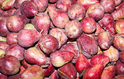 Freshly harvested red bartlett pears on display Royalty Free Stock Photography