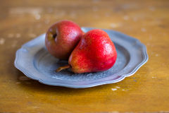 Freshly harvested red pears Royalty Free Stock Image