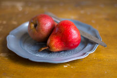 Freshly harvested red pears Royalty Free Stock Photography