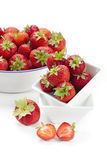 Freshly harvested strawberries in enamel bowl Royalty Free Stock Photo