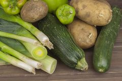 Freshly harvested vegetables. Diet food. The concept of weight loss. Healthy homemade food. Royalty Free Stock Photo