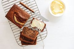 Freshly baked banana bread loaf royalty free stock photos