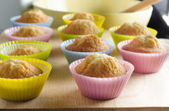 Freshly Home Baked Cupcakes in Colourful Cases Royalty Free Stock Photo