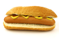 Freshly homemade hot dog with mustard Royalty Free Stock Photography
