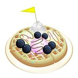 Tradition Waffle with Blueberries and Ice Cream. Freshly Homemade Round Belgian Waffle Topped with Fresh Blueberries, Whipped Cream, Ice Cream and Little Yellow Royalty Free Stock Photography