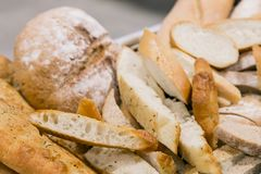Freshly Italian Bread for catering at a corporate event. Large bowl of freshly Italian Bread for catering at a corporate event gala dinner banquet Royalty Free Stock Photo