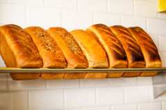 Freshly kneaded grain and white breads for sale Royalty Free Stock Photos