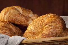 Freshly made breads croissant served for breakfast Royalty Free Stock Images
