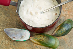 Freshly made Clam Chowder Stock Photo