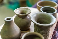 Freshly Made Clay Vases In Pottery Workshop Stock Image