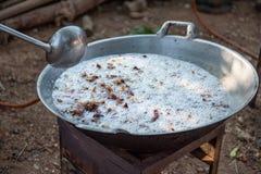 Freshly made crackling, well-browned, crisp rind of roasted pork stock photo