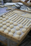 Freshly Made dough for Rolls Wooden Trays Royalty Free Stock Image