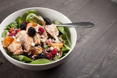 Spinach salad with fruit and feta cheese horizontal shot Stock Images
