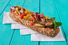 Freshly made hot dog sandwich Stock Images