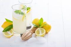 Freshly made lemonade in tall glasses Stock Photo