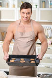 Freshly made oven baked cookies presenting stock images
