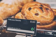 Freshly made Pain aux Raisins on sale at Pret A Manger, London, UK. Freshly made Pain aux Raisins on sale at Pret A Manger, London, a popular international stock photo