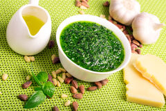 Freshly made pesto sauce Royalty Free Stock Photography