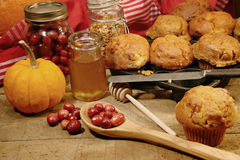 Freshly made pumpkin and berry muffins Royalty Free Stock Photo