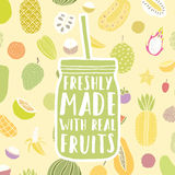 Freshly made with real fruits. Hand drawn jar and. Hand drawn jar with fruit pattern. Vector illustration stock illustration