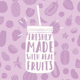 Freshly made with real fruits. Hand drawn jar and. Fruit pattern. Vector illustration stock illustration
