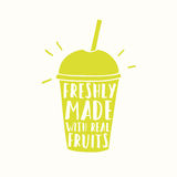 Freshly made with real fruits. Juice or smoothie. Juice or smoothie cup to go. Vector hand drawn illustration stock illustration