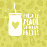 Freshly made with real fruits mason jar Royalty Free Stock Photography