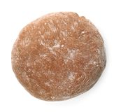 Freshly made rye dough on white background,. Top view royalty free stock photo