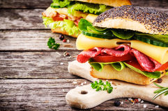 Freshly made sandwiches Stock Photography