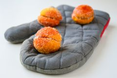 Freshly made sweet apricots with sugar coating royalty free stock images