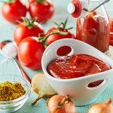 Freshly made tomato puree with spices royalty free stock photo