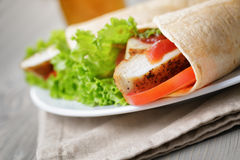 Freshly made tortilla wraps with chicken and vegetables Stock Images
