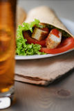Freshly made tortilla wraps with chicken and vegetables Stock Photography