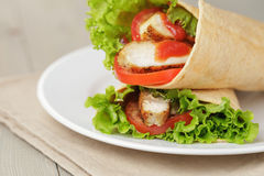 Freshly made tortilla wraps with chicken and Royalty Free Stock Image