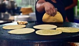 Freshly made Tortillas. Freshly made yellow corn tortillas Stock Photos