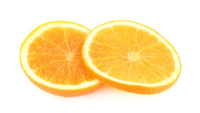 Freshly orange fruit sliced on white background Royalty Free Stock Photography