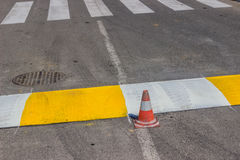 Freshly painted crosswalk and speed bump 2 Stock Images