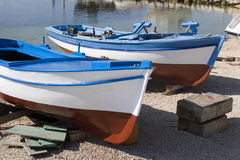 Freshly painted fisherman boats Royalty Free Stock Images